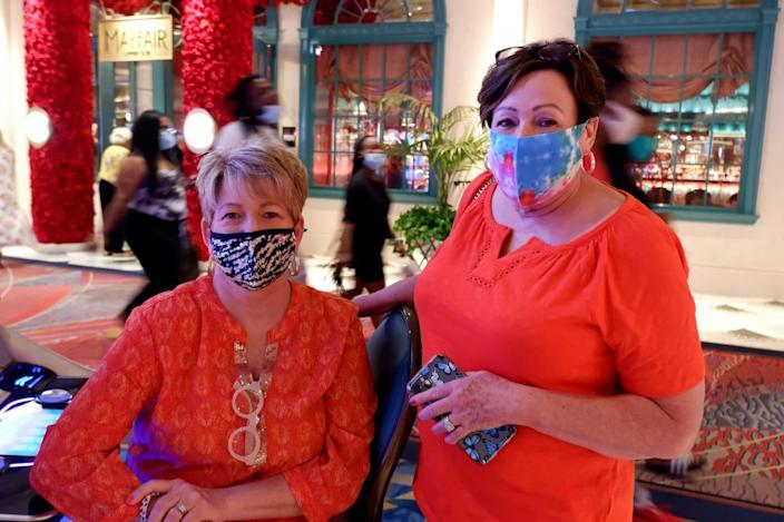 """Sharon Grooms, right, came to Las Vegas for her first """"girls trip"""" since getting the COVID-19 vaccine in January."""
