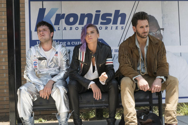Josh Hutcherson as Josh, Eliza Coupe as Tiger, and Derek Wilson as Wolf (Photo: Erin Simkin/Hulu)