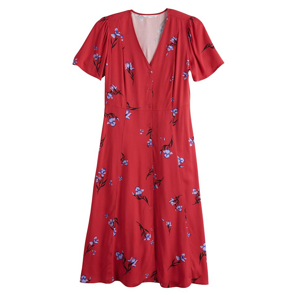 """<p>""""This <a href=""""https://www.popsugar.com/buy/POPSUGAR-Button-Up-Midi-Dress-484104?p_name=POPSUGAR%20Button-Up%20Midi%20Dress&retailer=kohls.com&pid=484104&price=48&evar1=fab%3Aus&evar9=46541785&evar98=https%3A%2F%2Fwww.popsugar.com%2Fphoto-gallery%2F46541785%2Fimage%2F46541786%2FPOPSUGAR-Button-Up-Midi-Dress&prop13=api&pdata=1"""" rel=""""nofollow"""" data-shoppable-link=""""1"""" target=""""_blank"""" class=""""ga-track"""" data-ga-category=""""Related"""" data-ga-label=""""https://www.kohls.com/product/prd-3827165/womens-popsugar-button-up-midi-dress.jsp?color=Iris%20Bloom&amp;prdPV=12"""" data-ga-action=""""In-Line Links"""">POPSUGAR Button-Up Midi Dress</a> ($48, originally $64) is the perfect transitional piece. I'll wear [it] on its own with sandals in September and then layer a thin, long-sleeve top underneath with boots for late Fall.""""</p>"""