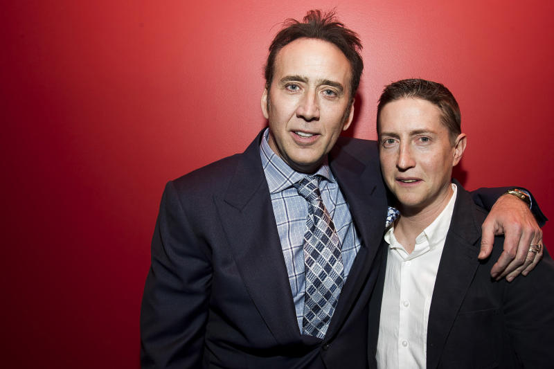 "Actor Nicolas Cage, left, and director David Gordon Green pose for a portrait in promotion of their upcoming film ""Joe"" on Wednesday, April 9, 2014 in New York. (Photo by Charles Sykes/Invision/AP)"