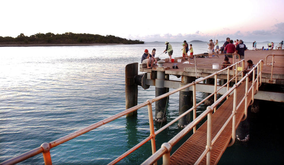 Fishermen try their luck at the Seisia jetty at the top of Cape York Peninsula.