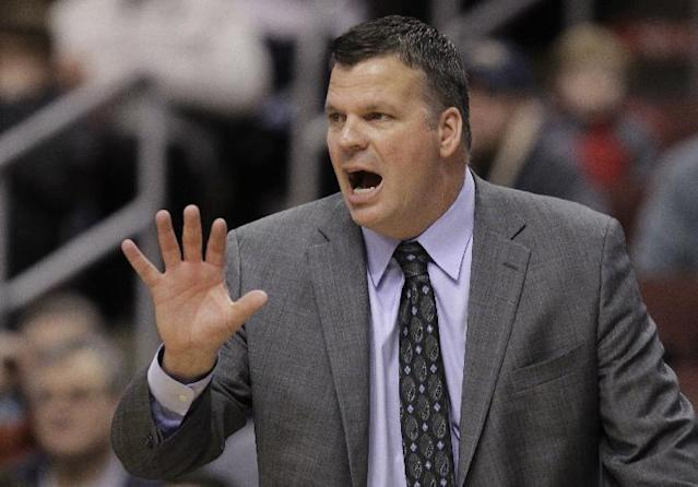 Creighton coach Greg McDermott shouts from the bench in the first half of an NCAA college basketball game with Villanova, Monday, Jan. 20, 2014, in Philadelphia. (AP Photo/Laurence Kesterson)