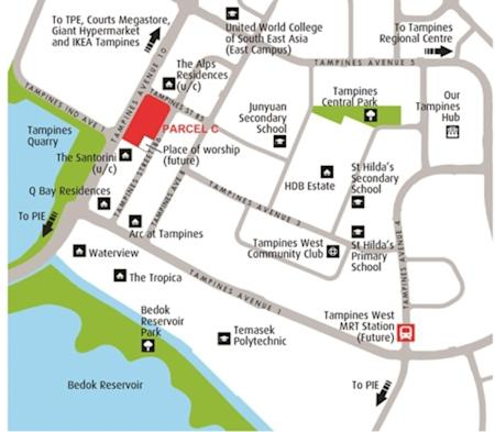 Location map of Tampines Avenue 10 site