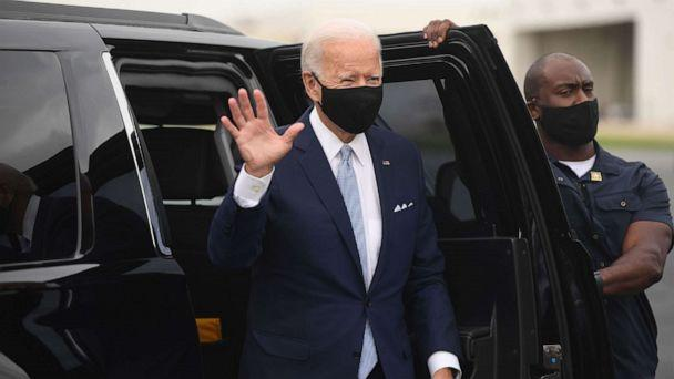 PHOTO: Democratic presidential nominee former Vice President Joe Biden boards an airplane at New Castle Airport in New Castle, Del., Aug. 31, 2020, as he travels to Pennsylvania for campaign events. (Saul Loeb/AFP via Getty Images)