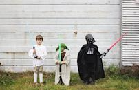 """<p>DIY or DIY not. There is no try. For more fun from a galaxy far, far away, DIY a<em> Star Wars</em> group kids costume featuring Luke Skywalker, Darth Vader, and Yoda. </p><p><strong>See more at <a href=""""https://themerrythought.com/diy/halloween-costumes-star-wars/"""" rel=""""nofollow noopener"""" target=""""_blank"""" data-ylk=""""slk:The Merrythought"""" class=""""link rapid-noclick-resp"""">The Merrythought</a>. </strong></p><p><a class=""""link rapid-noclick-resp"""" href=""""https://go.redirectingat.com?id=74968X1596630&url=https%3A%2F%2Fwww.walmart.com%2Fip%2FStar-Wars-Lightsaber-Academy-Red-Lightsaber-Light-up-Extendable-Blade%2F948562790&sref=https%3A%2F%2Fwww.thepioneerwoman.com%2Fholidays-celebrations%2Fg32645069%2F80s-halloween-costumes%2F"""" rel=""""nofollow noopener"""" target=""""_blank"""" data-ylk=""""slk:SHOP LIGHTSABERS"""">SHOP LIGHTSABERS</a></p>"""