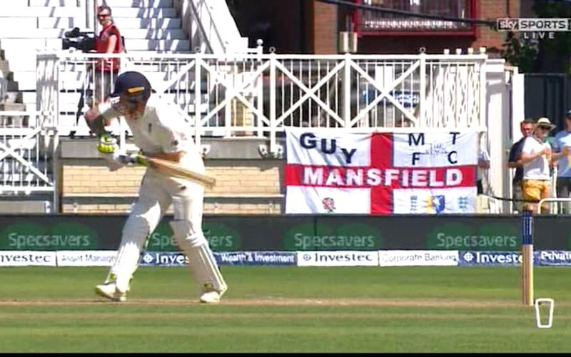Stokes out of crease - Credit: Sky Sports