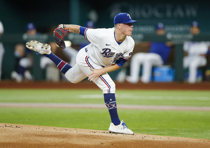 Texas Rangers starting pitcher Kolby Allard (39) throws during the first inning of a baseball game against the Tampa Bay Rays, Saturday, June 5, 2021, in Arlington, Texas. (AP Photo/Brandon Wade)
