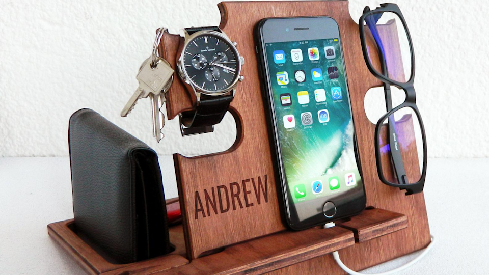 Best Valentine's Day gifts for men: Wooden docking station.