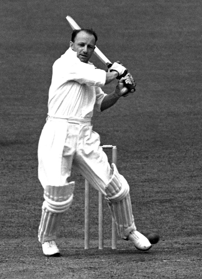 11 JUN 1948:  DON BRADMAN OF AUSTRALIA IN ACTION BATTING DURING THE NOTTINGHAM TEST. Mandatory Credit: Allsport Hulton/Archive