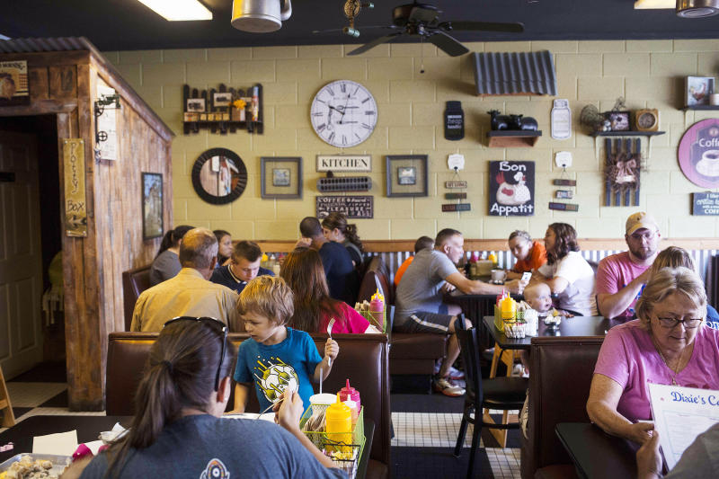 Enjoy a hearty but budget-friendly bite at Dixie's Cafe in downtown Coweta.