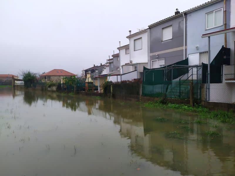 A flooded area is pictured after Storm Elsa swept throughout Galicia, in the province of Ourense