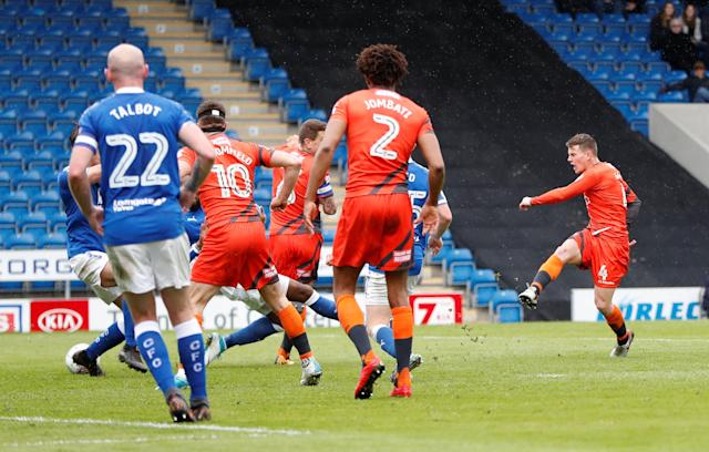 "Soccer Football - League Two - Chesterfield v Wycombe Wanderers - Proact Stadium, Chesterfield, Britain - April 28, 2018 Wycombe's Dominic Gape scores the second goal Action Images/Paul Childs EDITORIAL USE ONLY. No use with unauthorized audio, video, data, fixture lists, club/league logos or ""live"" services. Online in-match use limited to 75 images, no video emulation. No use in betting, games or single club/league/player publications. Please contact your account representative for further details."