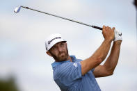 Dustin Johnson tees off on the fourth hole during the first round of the 3M Open golf tournament in Blaine, Minn., Thursday, July 23, 2020. (AP Photo/Andy Clayton- King)