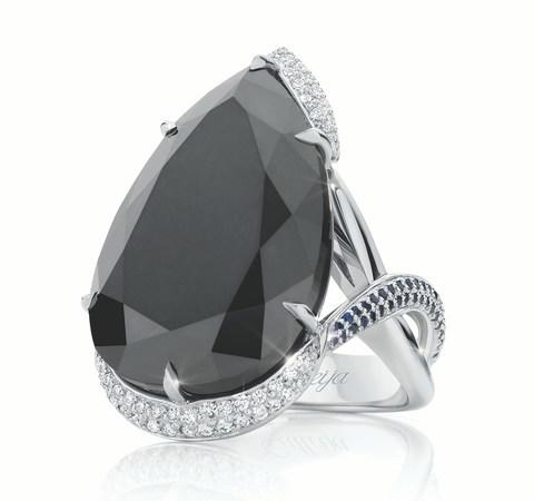 Calleija Black Orchid ring in white gold with a 36.25-carat black diamond