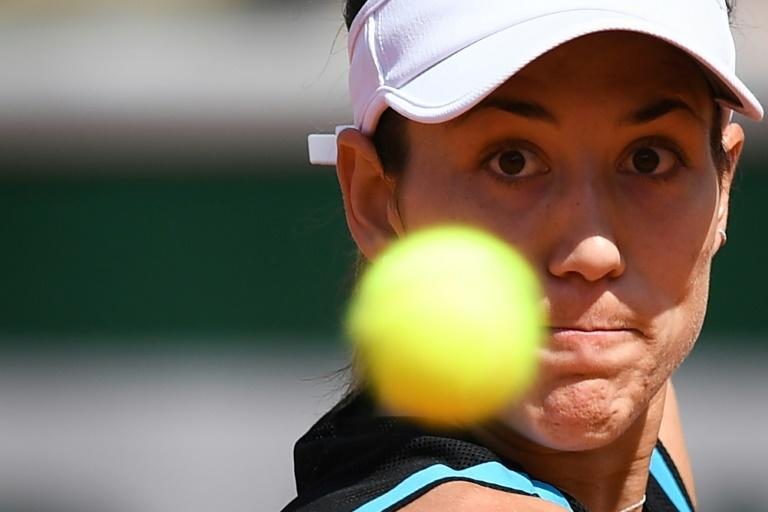 Eye on the ball: Garbine Muguruza fights back to defeat Taylor Townsend on the new Simonne Mathieu court