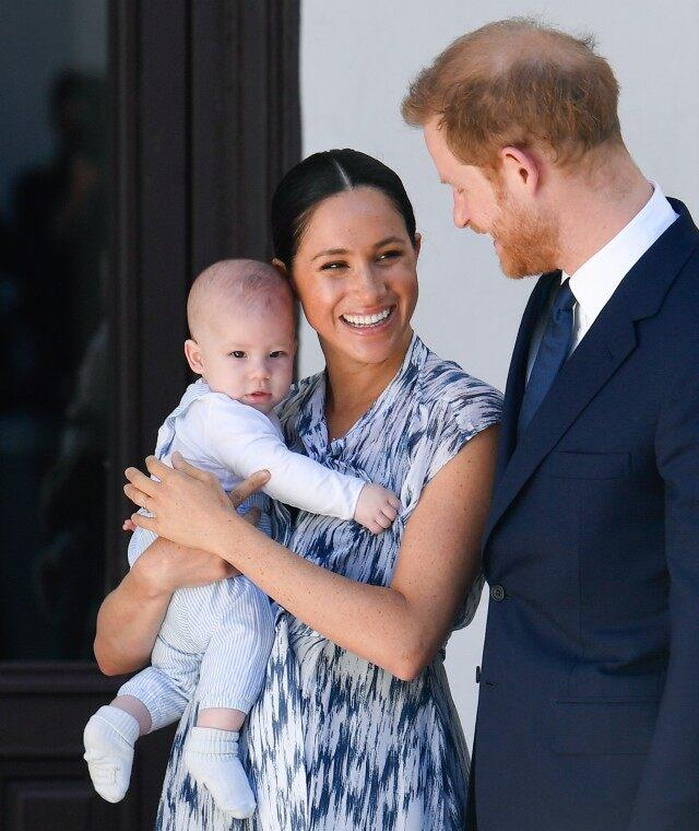 Prince Harry, Duke of Sussex, Meghan, Duchess of Sussex and their baby son Archie Mountbatten-Windsor meet Archbishop Desmond Tutu