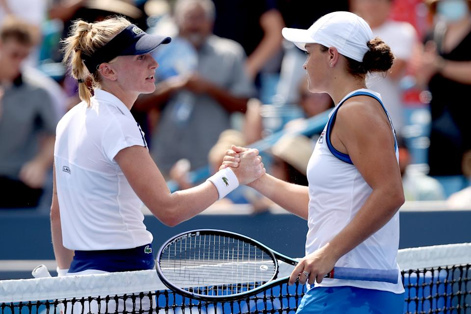 Jil Teichmann (pictured left) congratulates Ashleigh Barty (pictured right) during the final of the Western & Southern Open at Lindner Family Tennis Center on August 22, 2021 in Mason, Ohio.