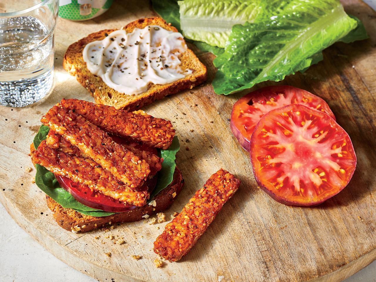 """<p>A <a href=""""https://www.cookinglight.com/news/whole-foods-viral-vegan-blt-ttla"""" target=""""_blank"""">vegan BLT from Whole Foods</a> went viral earlier this year, and we replicated <a href=""""https://www.cookinglight.com/food/vegetarian/i-made-the-viral-whole-foods-ttla-vegan-blt"""" target=""""_blank"""">the recipe</a> with shortcuts. This house-smoked version allows for a truly bacon-like flavor — you'll never have a BLT quite like it.</p> <p> <a href=""""https://www.cookinglight.com/recipes/smoked-tempeh-blt"""">View Recipe: Vegan Smoked Tempeh BLT</a></p>"""