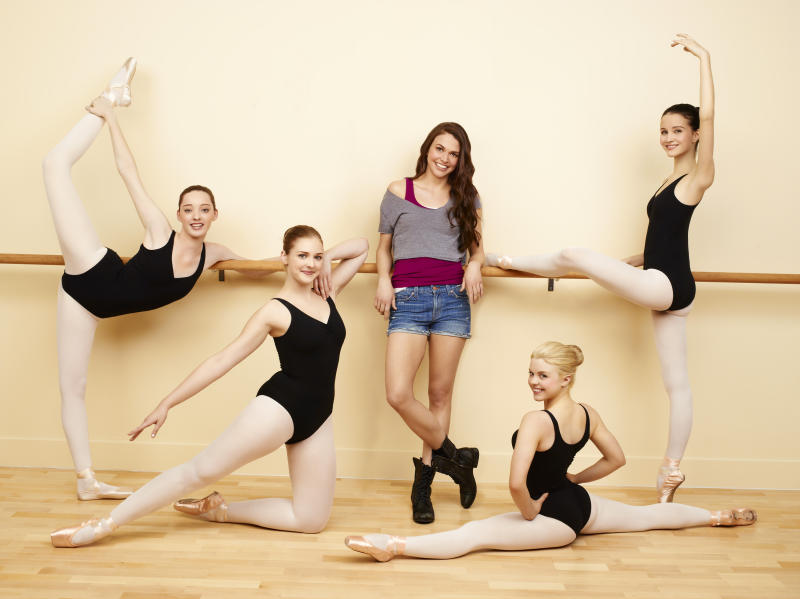 """This undated photo released by ABC Family, shows castmembers from the ABC Family drama """"Bunheads,"""" from left, Emma Dumont as Melanie, Kaitlyn Jenkins as Boo, Sutton Foster as Michelle, Bailey Buntain as Ginny and Julia Goldani Telles as Sasha. """"Bunheads,"""" debuts Monday, June 11 at 9 p.m. EDT on ABC Family. (AP Photo/ABC Family, Andrew Eccles)"""