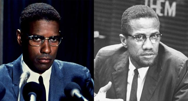<p>Wearing the late civil rights leader's trademark glasses, Denzel Washington struck a fiery pose (and earned a Best Actor Oscar nomination) as Malcolm X in Spike Lee's 1992 biopic. (Photo: Courtesy of Everett Collection/Getty Images) </p>