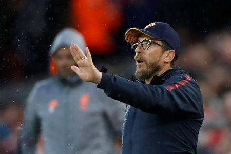 Soccer Football - Champions League Semi Final First Leg - Liverpool vs AS Roma - Anfield, Liverpool, Britain - April 24, 2018 Roma coach Eusebio Di Francesco Action Images via Reuters/Carl Recine