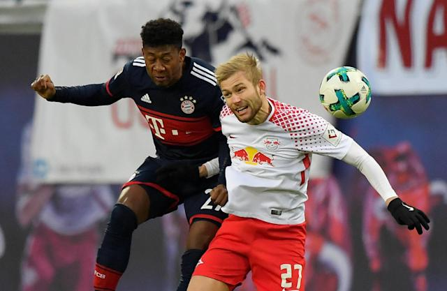 Soccer Football - Bundesliga - RB Leipzig vs Bayern Munich - Red Bull Arena, Leipzig, Germany - March 18, 2018 RB Leipzig's Konrad Laimer in action with Bayern Munich's David Alaba REUTERS/Matthias Rietschel DFL RULES TO LIMIT THE ONLINE USAGE DURING MATCH TIME TO 15 PICTURES PER GAME. IMAGE SEQUENCES TO SIMULATE VIDEO IS NOT ALLOWED AT ANY TIME. FOR FURTHER QUERIES PLEASE CONTACT DFL DIRECTLY AT + 49 69 650050