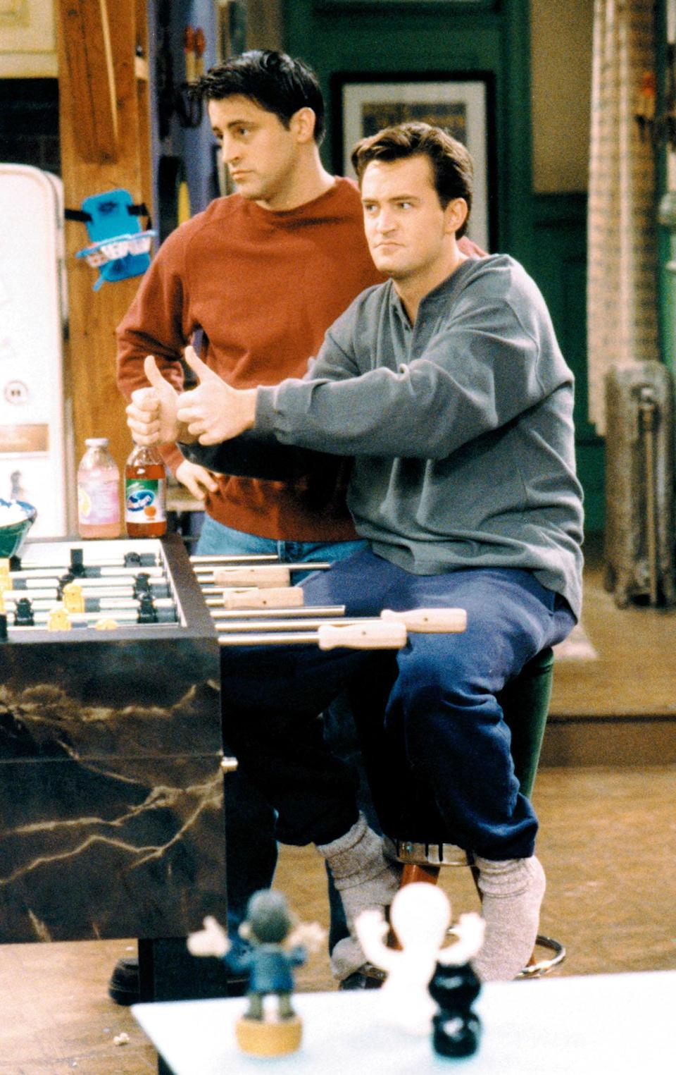 <p>The whole PJ thing is for you. Go all-out '90s and tuck your joggers into your thick, ribbed ankle socks. All that's missing is a pair of dad sneakers.</p>