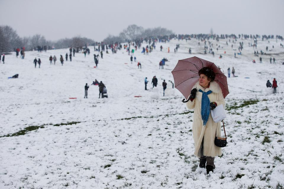<p>On Sunday, Londoners were given a brief respite to lockdown boredom with a dusting of snow</p> (PA)
