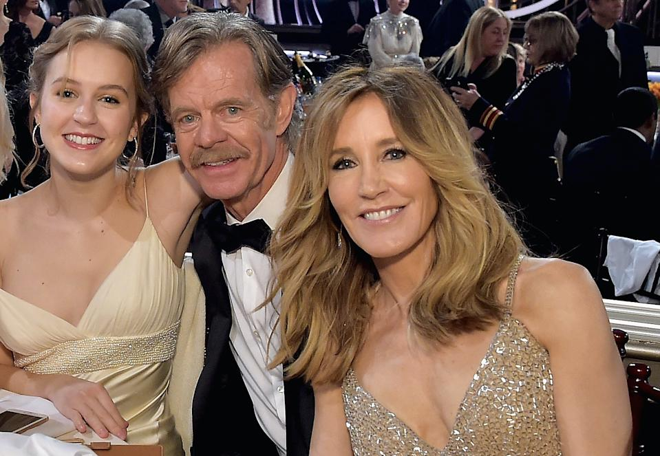Sophia Macy with her parents, William H. Macy and Felicity Huffman at the 2019 Golden Globes. Two months later, Huffman was arrested in the college admissions scandal. (Photo: Getty Images)