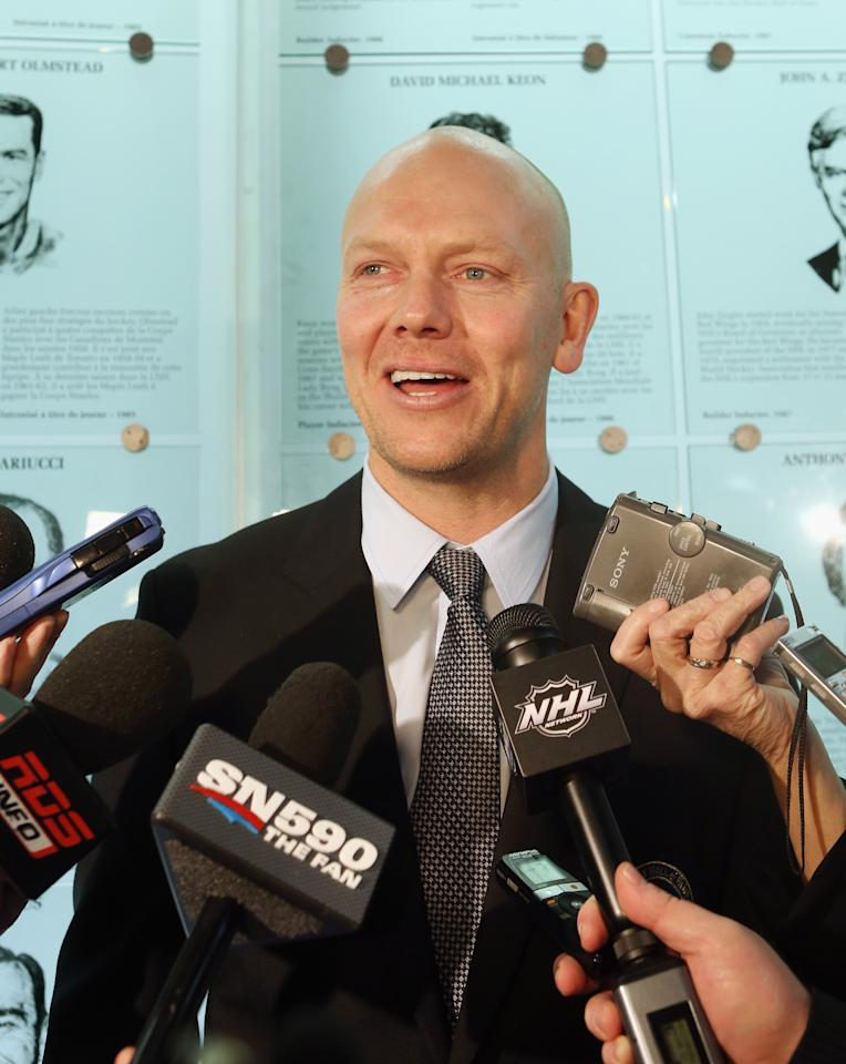 TORONTO, ON - NOVEMBER 12:  Mats Sundin speaks with reporters at the Hockey Hall of Fame on November 12, 2012 in Toronto, Canada. Sundin will be inducted into the Hall during a ceremony later today.  (Photo by Bruce Bennett/Getty Images)