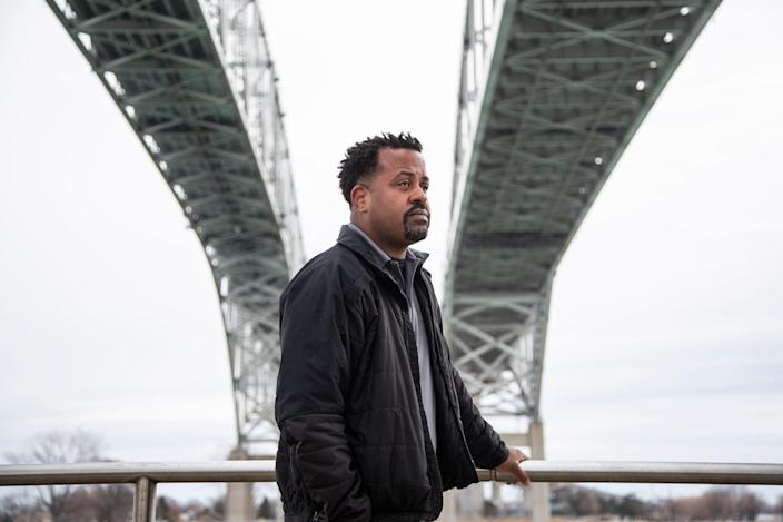 Johnny Lee Glaze, US Customs and Border Protection officer under the Bluewater Bridge in Port Huron, Thursday, March 18, 2021.