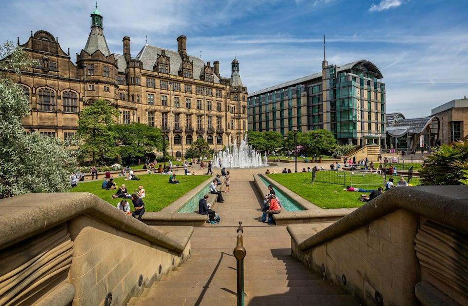 Peace gardens and Town Hall in SheffieldGetty