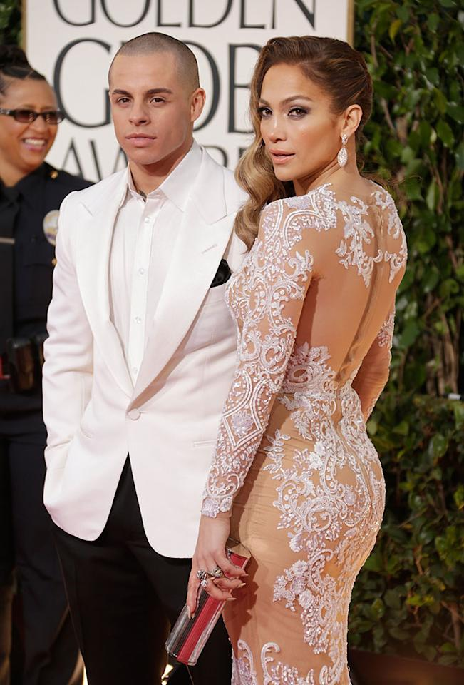 Casper Smart and Jennifer Lopez arrive at the 70th Annual Golden Globe Awards at the Beverly Hilton in Beverly Hills, CA on January 13, 2013.