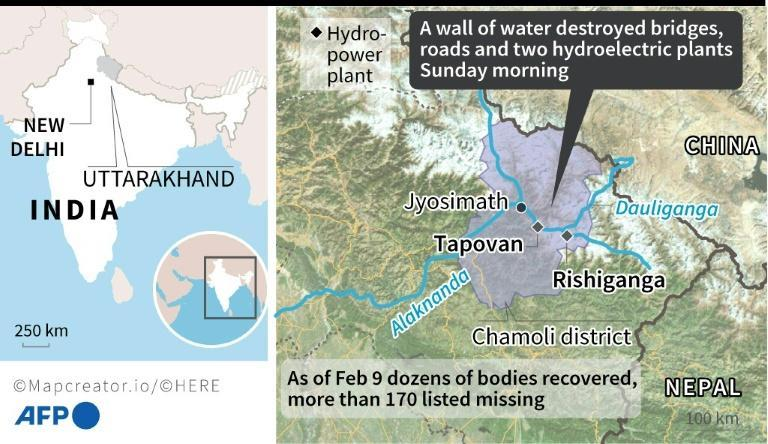 Hydro-power plants buried by a torrent in India's Uttarakhand state