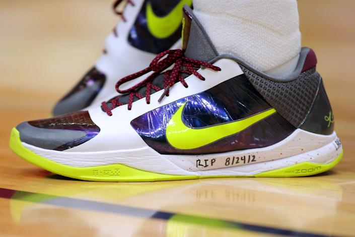 Josh Hart of the New Orleans Pelicans wears sneakers dedicated to Kobe Bryant during a game against the Boston Celtics in New Orleans on Jan. 26. Bryant's Lakers jerseys were Nos. 8 and 24. His daughter Gianna's number was 2.