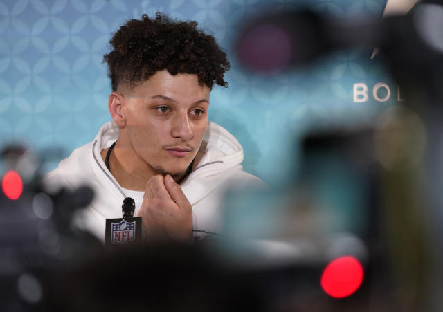 Chiefs quarterback Patrick Mahomes speaks to reporters during Opening Night on Monday. (AP Photo/David J. Phillip)