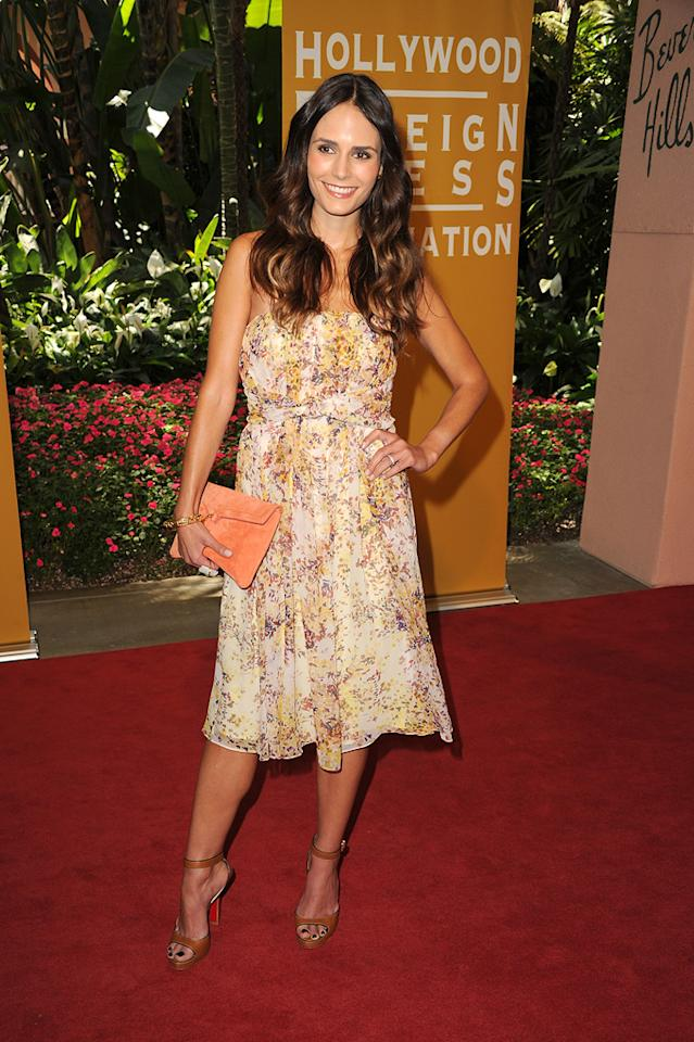 Jordana Brewster arrives at the Hollywood Foreign Press Association's 2012 Luncheon held at the Beverly Hill Hotel on August 9, 2012.