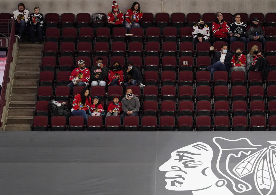 Fans watch during the third period of an NHL hockey game between the Dallas Stars and the Chicago Blackhawks in Chicago, Sunday, May 9, 2021. (AP Photo/Nam Y. Huh)