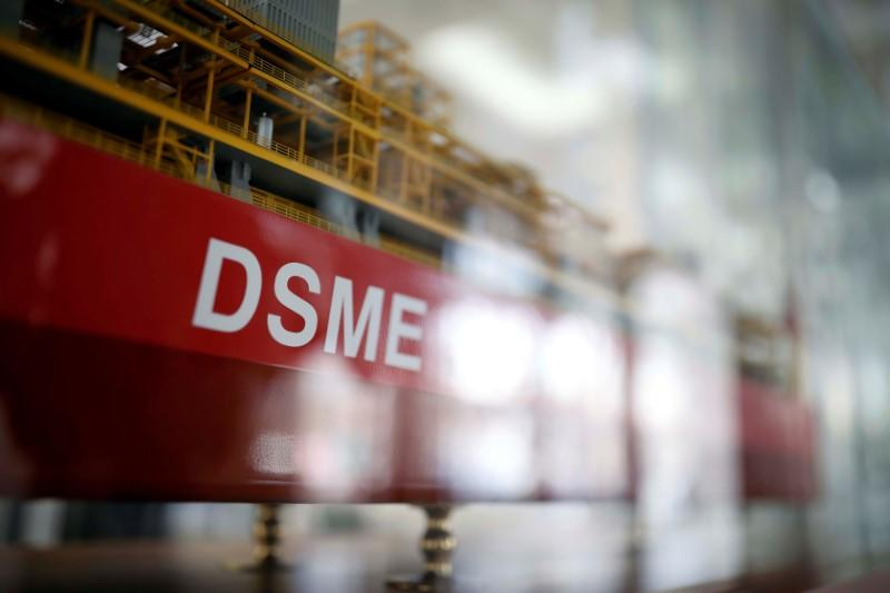 The name of Daewoo Shipbuilding & Marine Engineering Co is seen on a replica ship displayed at its building in Seoul