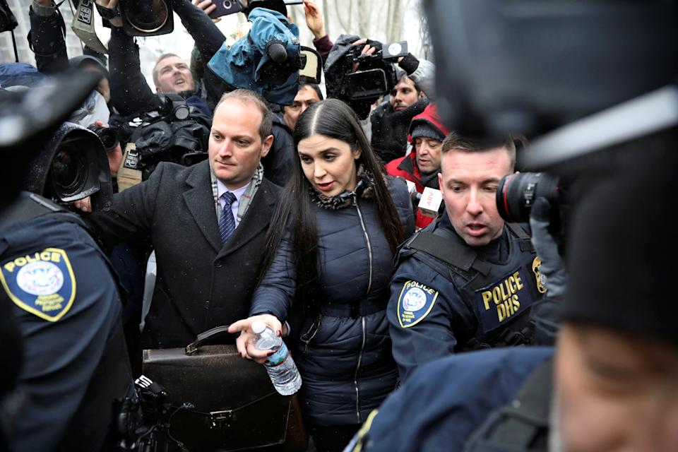 Emma Coronel Aispuro, the wife of Joaquin Guzman, departs after the trial of her Mexican drug lord husband in 2019.