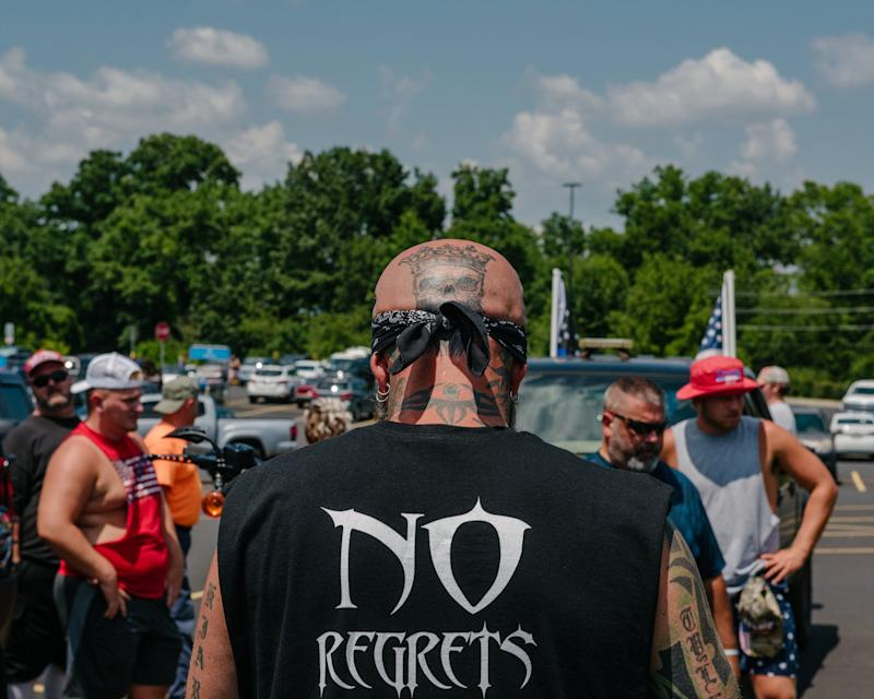 GETTYSBURG, PA - July 4, 2020: On Saturday afternoon, in the hours before the flag-burning was supposed to start, scores gathered in a parking lot next to a Wal-Mart, preparing to fan out and monitor the area in Gettysburg, Pennsylvania on July 4, 2020. (Photo by Andrew Mangum for The Washington Post via Getty Images) (Photo: The Washington Post via Getty Images)
