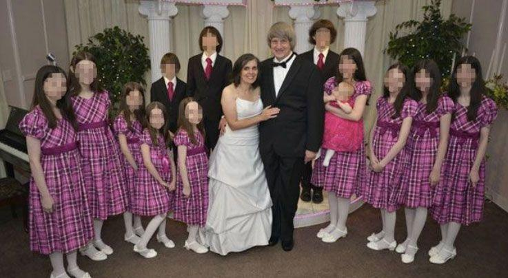 The family pictured at a wedding vow renewal ceremony. Some neighbours said they were unaware there were children in the house. Source: Facebook/David-Louise Turpin.