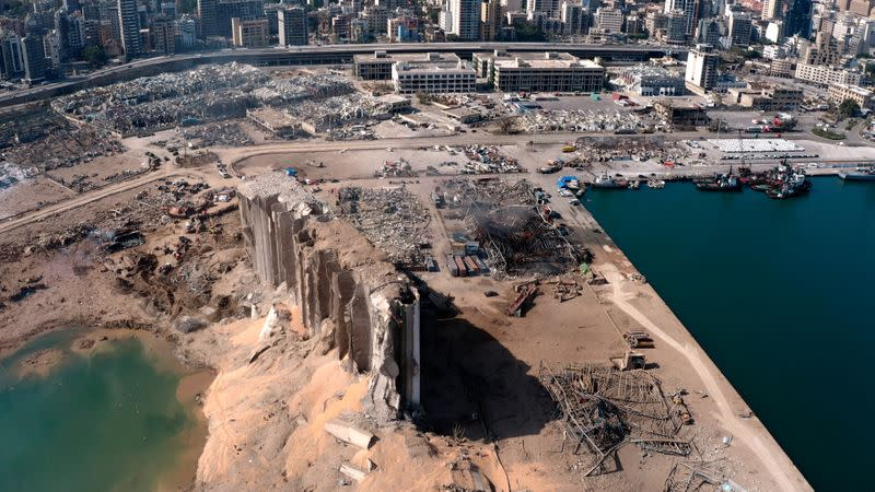 FILE PHOTO: A still image taken from a drone footage shows the damage two days after an explosion in Beirut's port area
