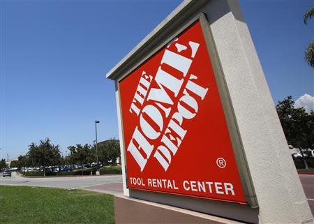 A sign outside The Home Depot store is pictured in Monrovia, California in this August 13, 2012 file photo. REUTERS/Mario Anzuoni/Files