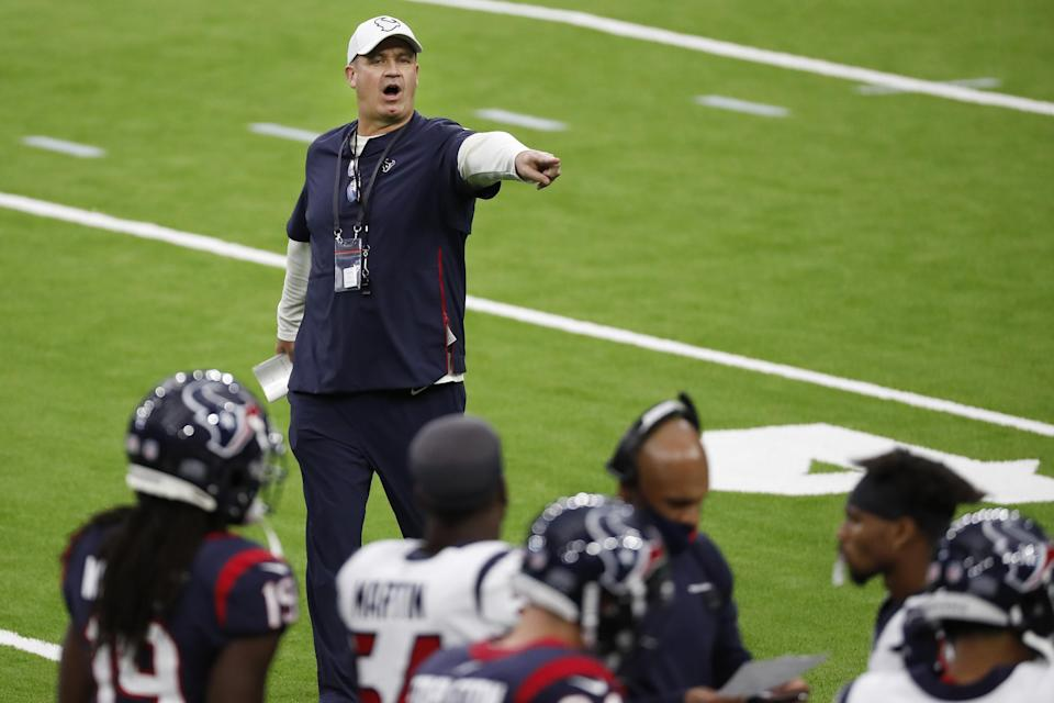 Houston Texans head coach Bill O'Brien calls directions to his players during an NFL training camp football practice Thursday, Aug. 27, 2020, in Houston. (Brett Coomer/Houston Chronicle via AP, Pool)