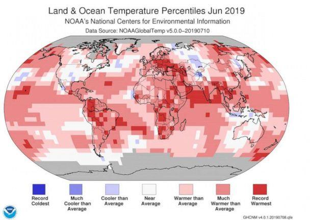 PHOTO: This NOAA graphic shows land and ocean temperature percentiles in June 2019. (NOAA)