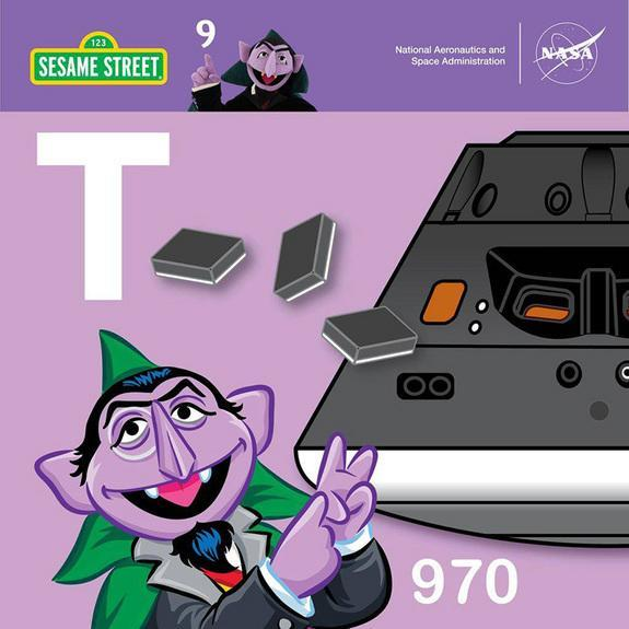 """Count von Count asks, """"Did you know that there are 970 tiles to protect its shell from high temps?"""" as part of Sesame Street's countdown to NASA's Orion launch."""