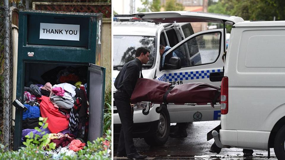 The body of a man is removed from a charity clothing bin in Rosebery, in Sydney, in November 2015. Images: AAP