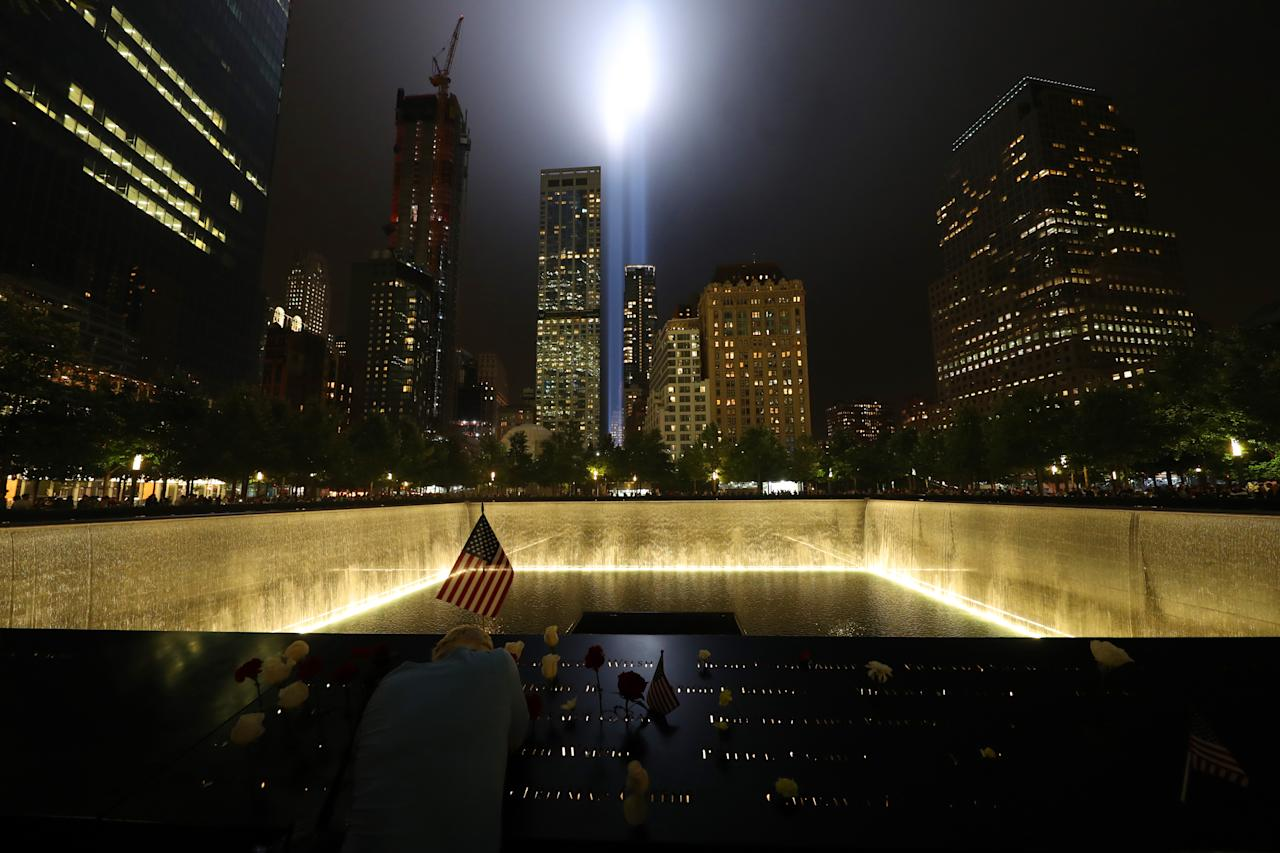 <p>The Tribute in Light rises above the New York City skyline from the National September 11 Memorial & Museum on Sept. 11, 2018. (Photo: Gordon Donovan/Yahoo News) </p>