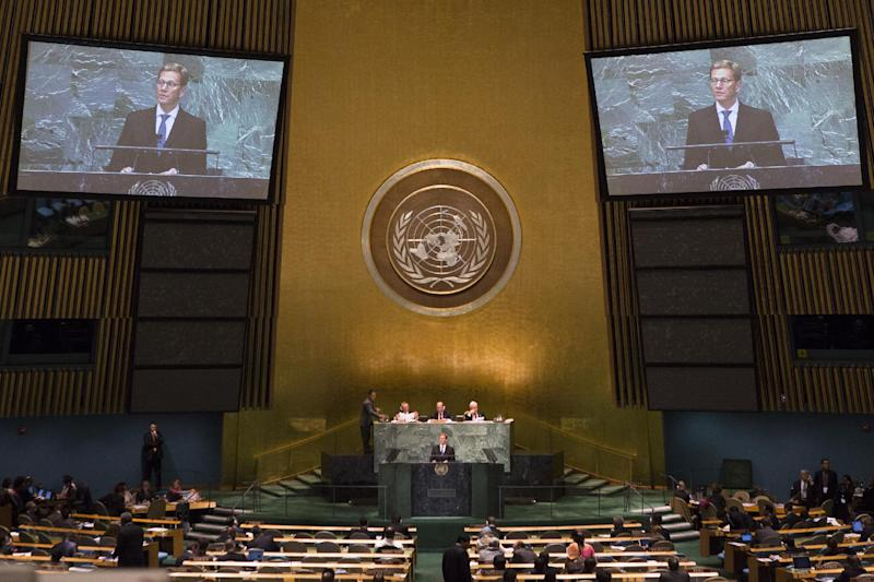 German Foreign Minister Guido Westerwelle addresses the 67th United Nations General Assembly at U.N. headquarters, Friday, Sept. 28, 2012. (AP Photo/John Minchillo)